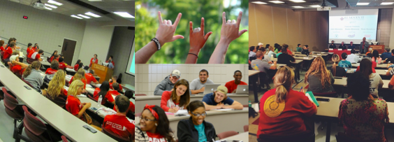 Collage of photographs of students in classrooms within the Moody College of Business.
